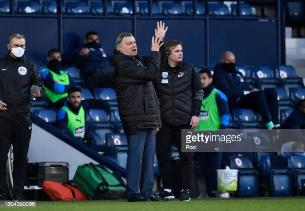 Sam Allardyce, Manager of West Bromwich Albion reacts during the Premier League match between West Bromwich Albion and Brighton & Hove Albion at The...