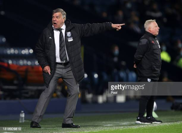 Sam Allardyce, Manager of West Bromwich Albion reacts during the Premier League match between West Bromwich Albion and West Ham United at The...