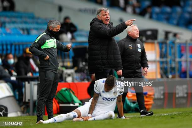 Sam Allardyce, Manager of West Bromwich Albion reacts during the Premier League match between Leeds United and West Bromwich Albion at Elland Road on...