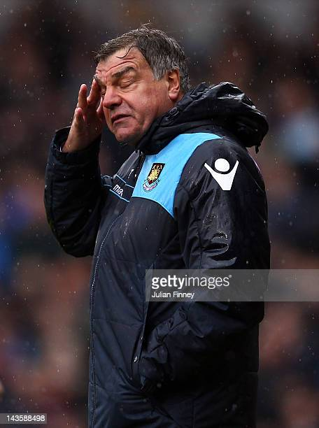 Sam Allardyce, manager of West Ham reacts during the npower Championship match between West Ham United and Hull City at Boleyn Ground on April 28,...