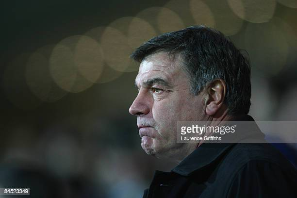 Sam Allardyce of Blackburn Rovers looks on during the Barclays Premier League match between Blackburn Rovers and Bolton Wanderers at Ewood Park on...