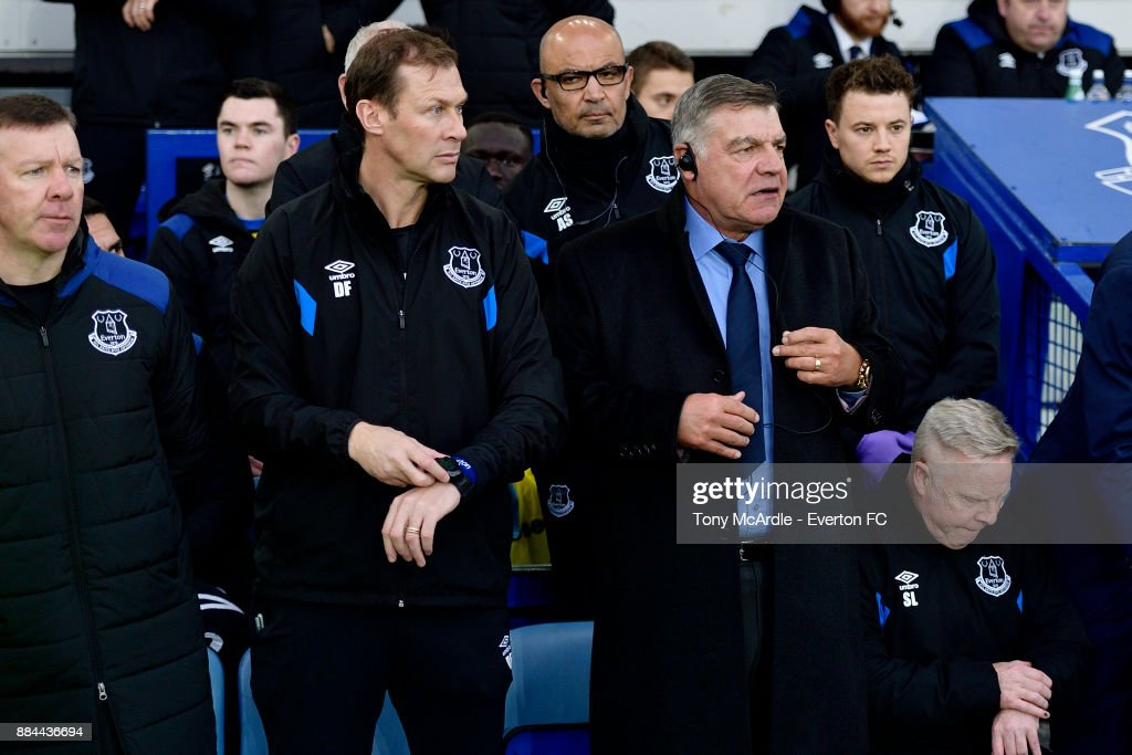 Sam Allardyce of Everton with Sammy Lee and Duncan Ferguson during the Premier League match between Everton and Huddersfield Town at Goodison Park on December 2, 2017 in Liverpool, England.