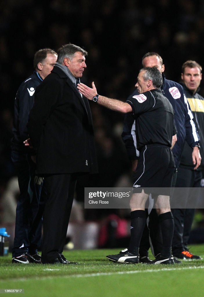 Sam Allardyce of West Ham United is sent to the stands by referee Scott Mathieson during the npower Championship match between West Ham United and Barnsley at the Boleyn Ground on December 17, 2011 in London, England.