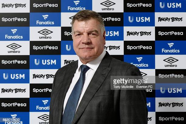 Sam Allardyce poses for a photo after being unveiled as Everton manager at USM Finch Farm on November 29 2017 in Halewood England
