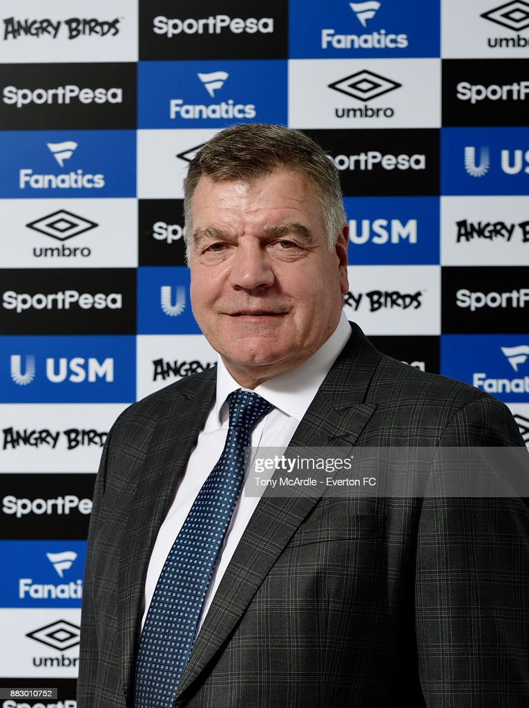 Sam Allardyce poses for a photo after being unveiled as Everton manager at USM Finch Farm on November 29, 2017 in Halewood, England.