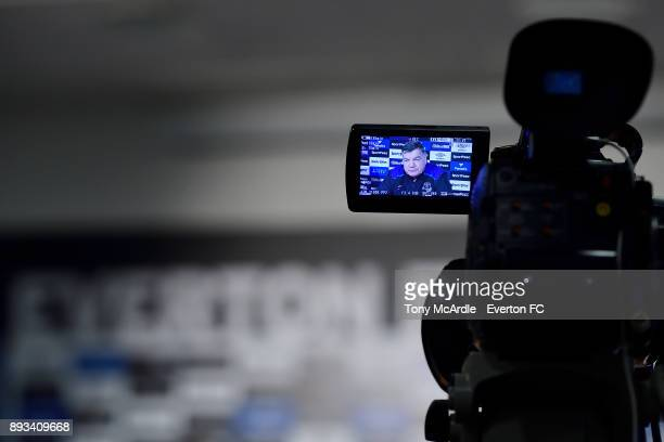 Sam Allardyce speaks to the press during the Everton FC press conference at USM Finch Farm on December 15 2017 in Halewood England