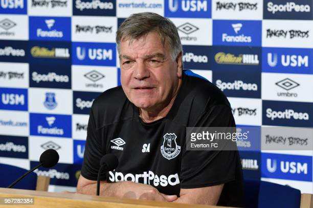 Sam Allardyce speaks to the press during the Everton FC press conference at USM Finch Farm on May 11 2018 in Halewood England