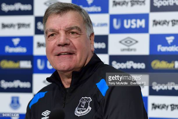 Sam Allardyce speaks to the press during the Everton press conference at USM Finch Farm on April 13 2018 in Halewood England