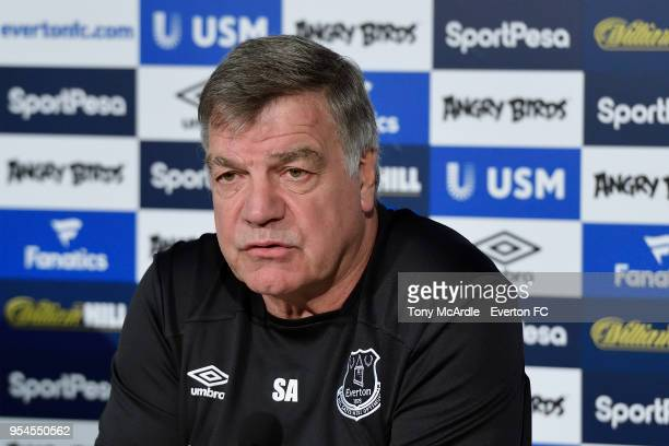 Sam Allardyce speaks to the press during the Everton press conference at USM Finch Farm on MAY 4 2018 in Halewood England