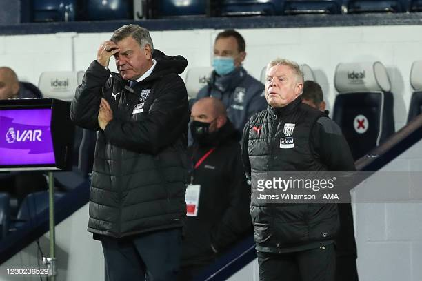 Sam Allardyce the head coach / manager of West Bromwich Albion reacts during the Premier League match between West Bromwich Albion and Aston Villa at...