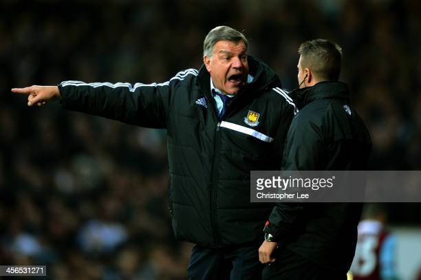 Sam Allardyce the West Ham manager remonstrates with the forth official during the Barclays Premier League match between West Ham United and...