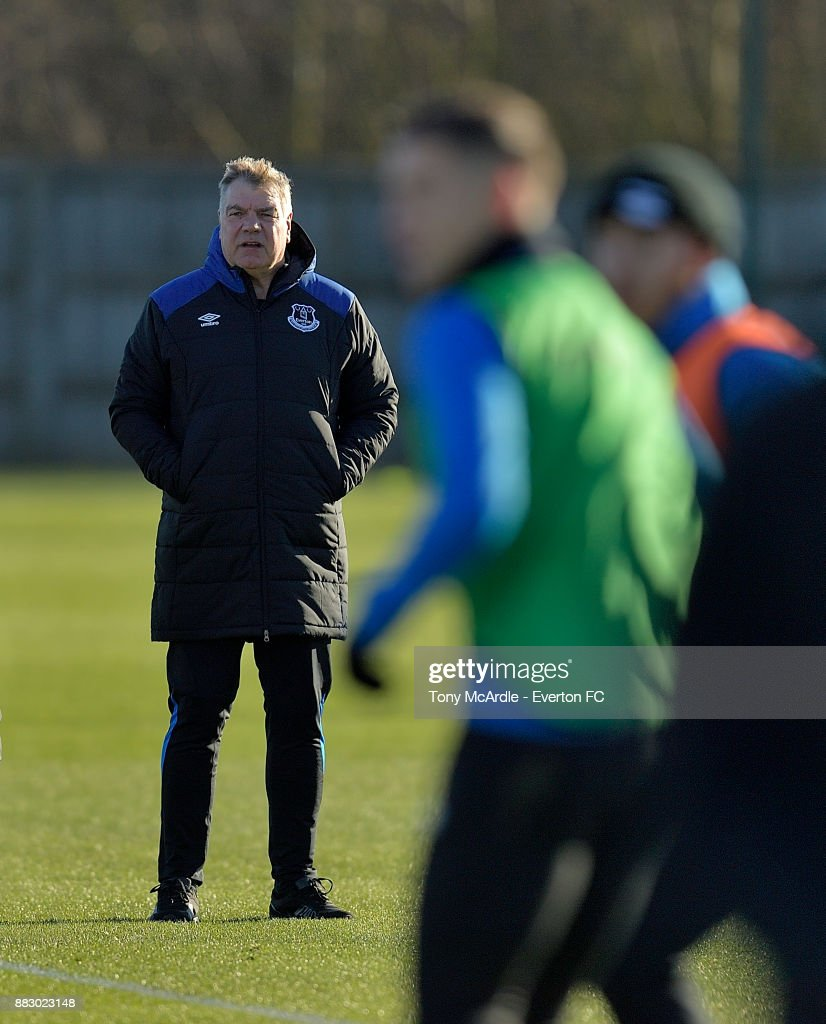 Sam Allardyce watches training after being unveiled as Everton manager at USM Finch Farm on November 30, 2017 in Halewood, England.