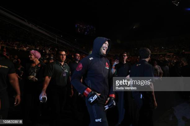 Sam Alvey enters the arena prior to facing Antonio Rogerio Nogueira of Brazil in their light heavyweight bout during the UFC Fight Night event at...