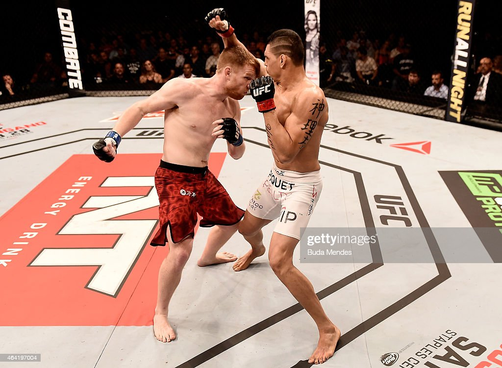 Sam Alvey of the United States punches Cezar Ferreira of Brazil in their middleweight bout during the UFC Fight Night at Gigantinho Gymnasium on February 22, 2015 in Porto Alegre, Brazil.