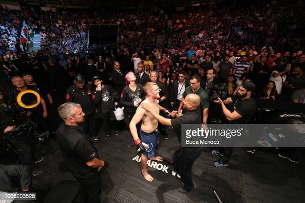 Sam Alvey prepares to enter the Octagon prior to facing Antonio Rogerio Nogueira of Brazil in their light heavyweight bout during the UFC Fight Night...