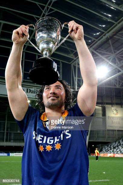 Sam Anderson-Heather of Otago poses for a photo with the Lin Colling Memorial Trophy after defeating Auckland in the round six Mitre 10 Cup match...