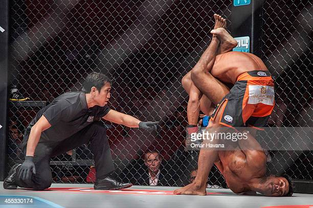 Sam Ang Dun competes against Chin Heng during One FC Cambodia on September 12 2014 in Phnom Penh Cambodia