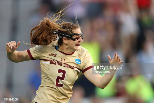 Sam Apuzzo of Boston College Eagles celebrates after scoring the gamewinning goal against the North Carolina Tar Heels during the second overtime of...
