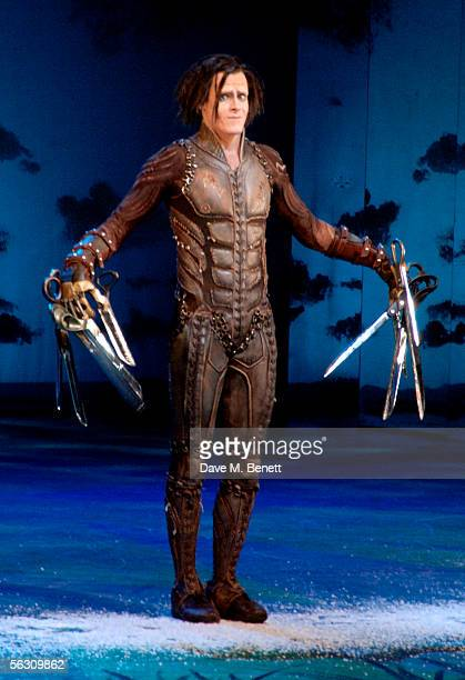 Sam Archer as Edward Scissorhand performs during the curtain call at the World Premiere of the theatrical production of Edward Scissorhands at...