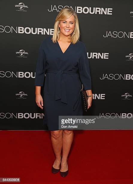 Sam Armytage arrives ahead of the Jason Bourne Australian Premiere at Hoyts Entertainment Quarter on July 3 2016 in Sydney Australia