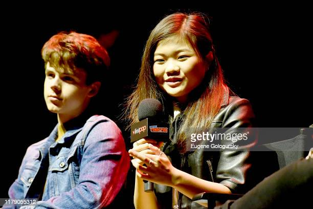 Sam Ashe Arnold and Miya Cech speak onstage during Nickelodeon's Are You Afraid of the Dark? panel at New York Comic Con 2019 - Day 2 at Jacobs...
