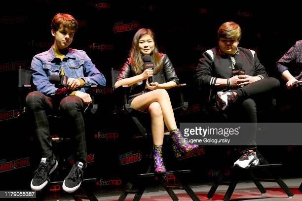 Sam Ashe Arnold, Miya Cech, Jeremy Ray Taylor speak onstage during Nickelodeon's Are You Afraid of the Dark? panel at New York Comic Con 2019 - Day 2...