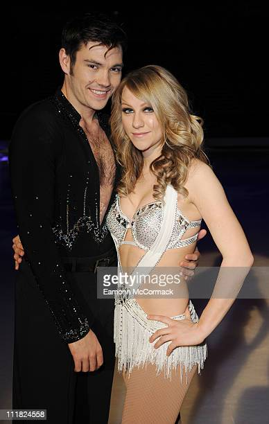 Sam Attwater and Chloe Madeley pose for the camera ahead of Dancing on Ice The Tour 2011 at Motorpoint Arena on April 7 2011 in Sheffield England