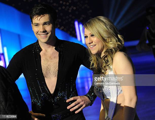 Sam Attwater and Chloe Madeley pose for the cameras ahead of Dancing on Ice The Tour 2011 at Motorpoint Arena on April 7 2011 in Sheffield England