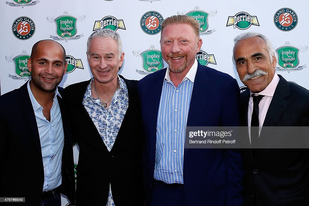 Sam Bahrami, John McEnroe, Boris Becker and Mansour Bahrami attend the Trophee des Legendes Dinner at Le Fouquet's, champs Elysees on June 3, 2015 in Paris, France.