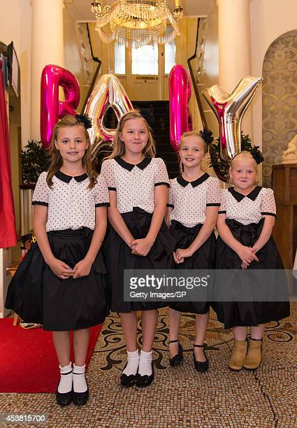 Sam Bailey's daugher Brooke Pearson poses friend Niamh Davis and cousins Niamh Pearson and Jenny Pearson at her mother's Baby Shower at The City...