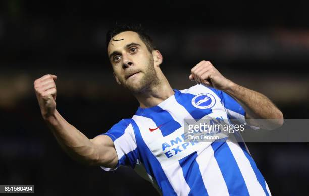 Sam Baldock of Brighton and Hove Albion celebrates as he scores their second goal during the Sky Bet Championship match between Brighton Hove Albion...