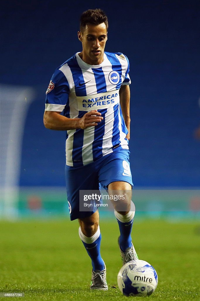 Sam Baldock of Brighton & Hove Albion in action on during the Sky Bet Championship match between Brighton & Hove Albion and Rotherham United at Amex Stadium on September 15, 2015 in Brighton, England.
