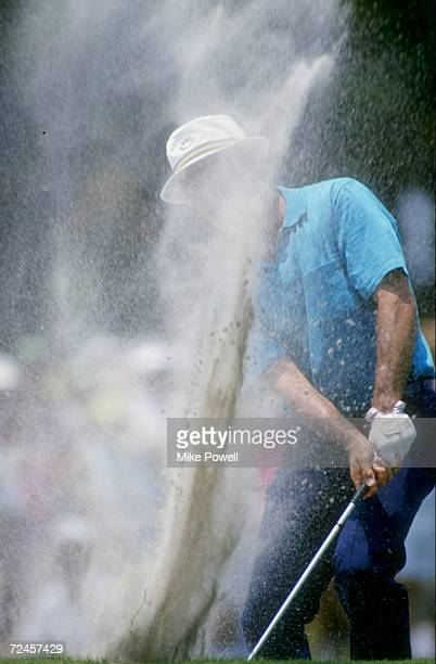 Sam Ballesteros chips out of the sand trap during the US PGA Open