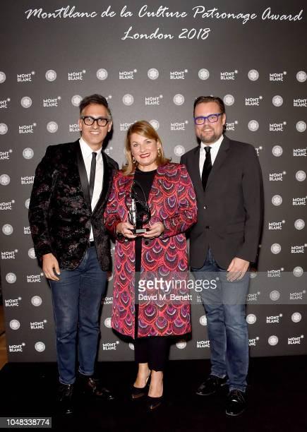Sam Bardaouil, Catherine Petitgas and Till Fellrath attend the Montblanc de la Culture Arts Patronage Award, celebrating the patronage achievements...