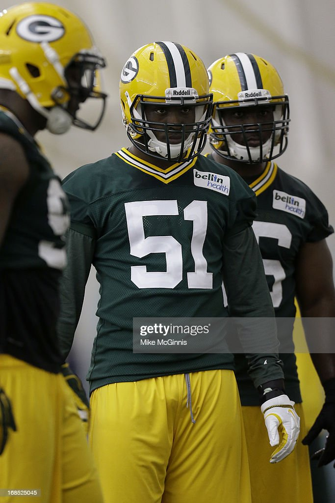 Sam Barrington #58 of the Green Bay Packers runs through some drills during rookie camp at the Don Hutson Center on May 10, 2013 in Green Bay, Wisconsin.