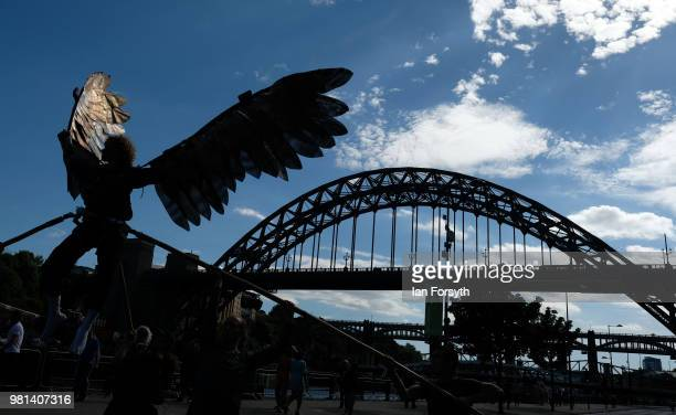 Sam Baxter from the Southpaw Dance Co performs as Icarus in a street performance display during the launch day of the Great Exhibition of the North...
