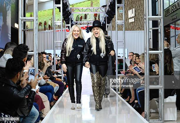 Sam Beckerman and Calli Beckerman walk the runway during Mackage Fall 2016 collection during Toronto FashionCAN 2016 at Yorkdale Shopping Centre on...