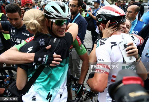 Sam Bennett of BoraHansgrohe team celebrates after winning the first place in the sixth stage between BursaIstanbul within the 54th Presidential...
