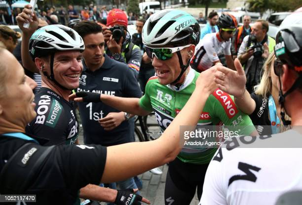 Sam Bennett of BoraHansgrohe team is seen after winning the first place in the sixth stage between BursaIstanbul within the 54th Presidential Cycling...