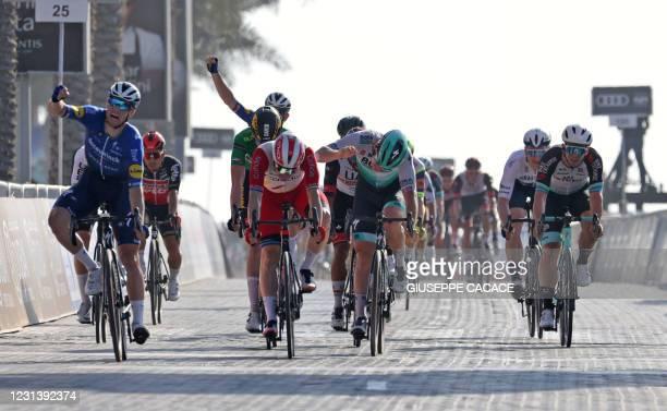 Sam Bennett of Deceuninck Quick Step team wins the sixth stage of the UAE Cycling Tour From Dubai Deira Islands to Dubai - Palm Jumeriah on February...