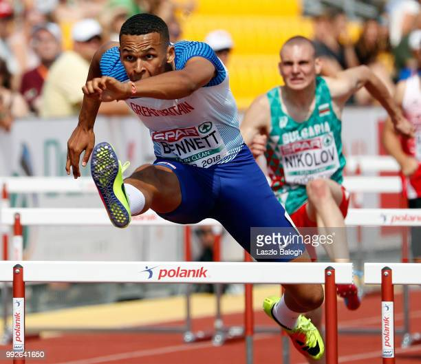 Sam Bennett of Great Britain competes at the 110m hurdles heat during European Atletics U18 European Championship on July 6 2018 in Gyor Hungary