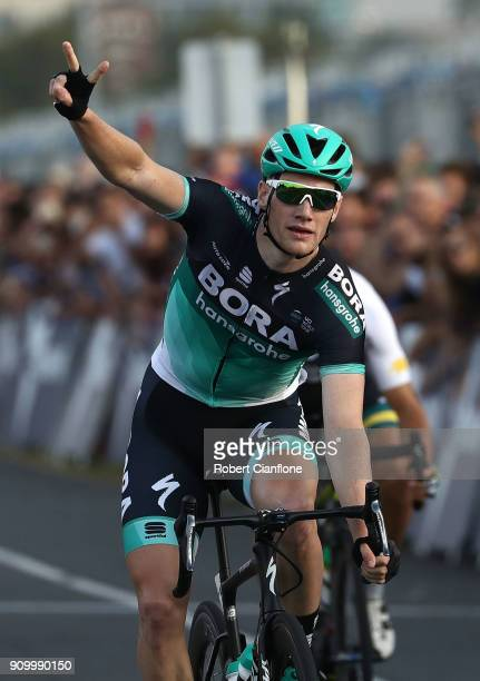 Sam Bennett of Ireland and Bora - Hansgrohe celebrates after winning the Men's event during the Towards Zero Race Melbourne on January 25, 2018 in...