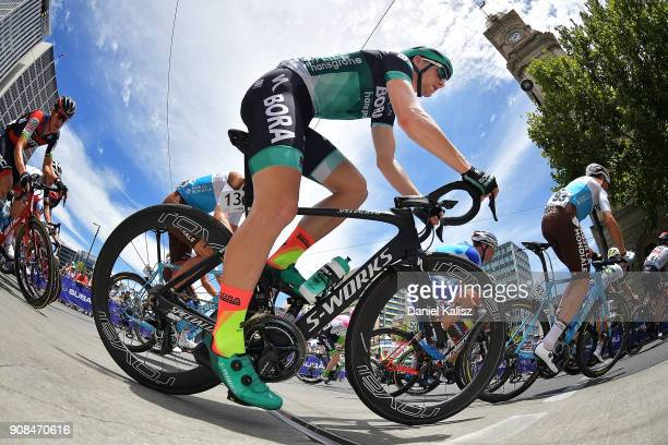 Sam Bennett of Ireland and BoraHansgrohe competes during stage six of the 2018 Tour Down Under on January 21 2018 in Adelaide Australia