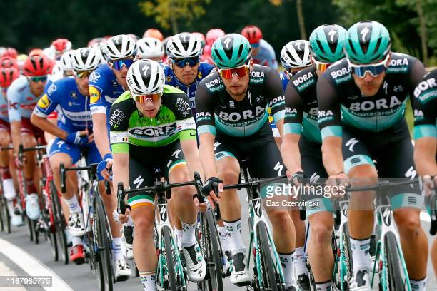 Sam Bennett of Ireland and Team Bora-Hansgrohe Green Leader Jersey / Lukas Postlberger of Austria and Team Bora-Hansgrohe / Zdenek Stybar of Czech...