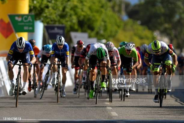 Sam Bennett of Ireland and Team Deceuninck - Quick-Step, Danny Van Poppel of Netherlands and Team Intermarché - Wanty - Gobert Matériaux, Jon...
