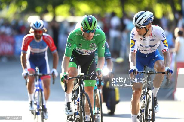 Sam Bennett of Ireland and Team Deceuninck - Quick-Step Green Points Jersey / Michael Morkov of Denmark and Team Deceuninck - Quick-Step / during the...