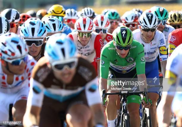 Sam Bennett of Ireland and Team Deceuninck - Quick-Step Green Sprint Jersey / Michael Morkov of Denmark and Team Deceuninck - Quick-Step / Peloton /...