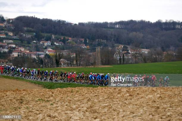 Sam Bennett of Ireland and Team Deceuninck - Quick-Step Green sprint jersey & Primoz Roglic of Slovenia and Team Jumbo - Visma Yellow Leader Jersey &...