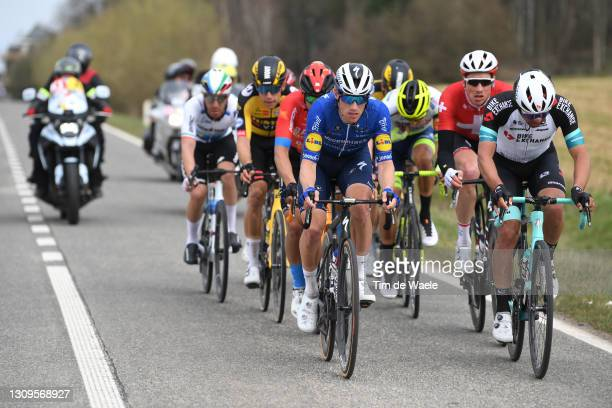 Sam Bennett of Ireland and Team Deceuninck - Quick-Step & Michael Matthews of Australia and Team Team BikeExchange during the 83rd Gent-Wevelgem in...