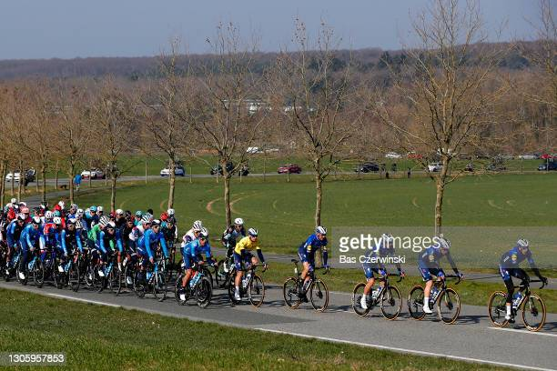 Sam Bennett of Ireland and Team Deceuninck - Quick-Step yellow leader jersey & the peloton during the 79th Paris - Nice 2021, Stage 2 a 188km stage...